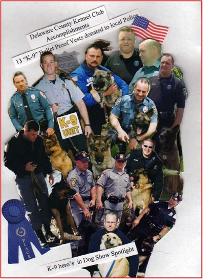 Officers who received K-9 vests from Delaware County Kennel Club